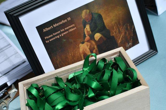 Green ribbons in honor of Albert Menefee III.JPG
