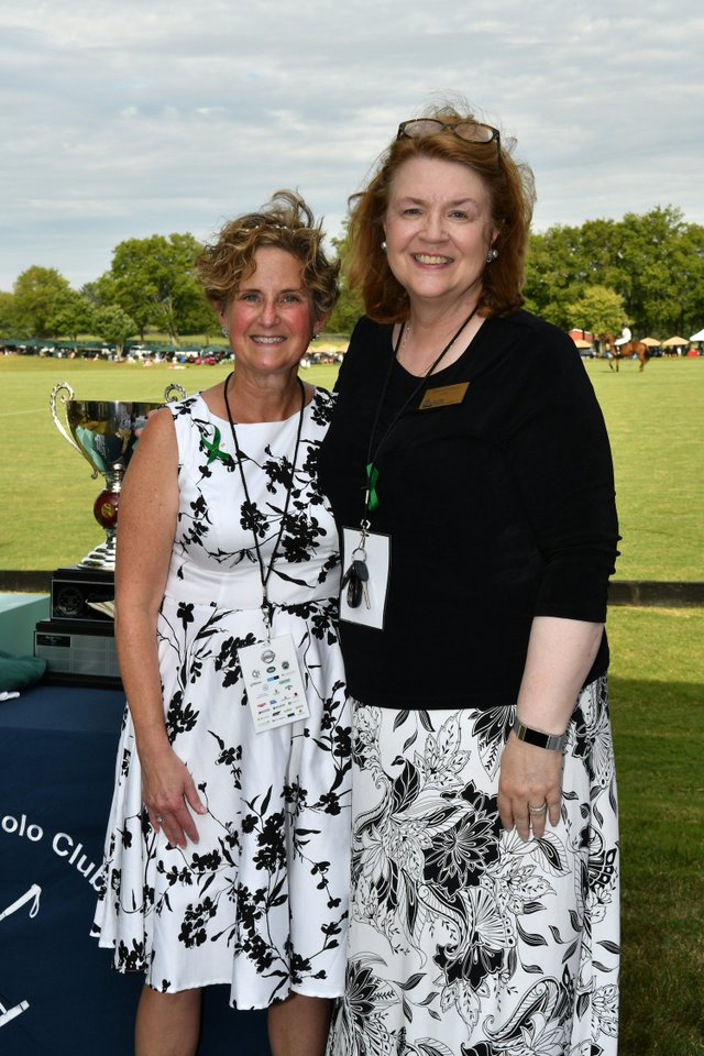 Saddle Up! Executive Director Laurie Kush and Rochelle Center President Debbie Chadwick.JPG