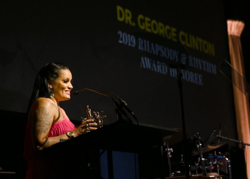 Chrissy Walter accepting on behalf of father George Clinton at The Celebration of Legends Gala 2019 on June 27 2019 in Nashville Tennessee. (Photo by Jason Kempin Getty Images).JPG