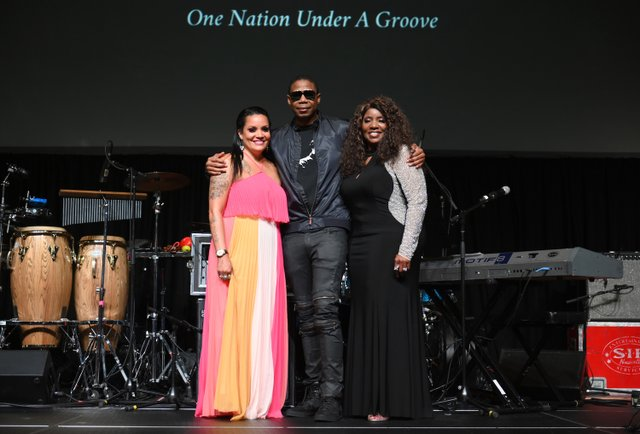 Chrissy Walter, Doug E. Fresh and Gloria Gaynor attend The Celebration of Legends Gala 2019 at Music City Center on June 27 2019 in Nashville Tennessee. (Photo by Jason Kempin.JPG