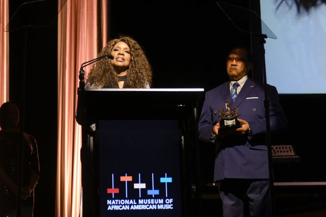 Gloria Gaynor accpeting award from Bobby Jones at the Celebration of Legends Gala 2019 on June 27 2019 in Nashville Tennessee. (Photo by Jason Kempin Getty Images).JPG