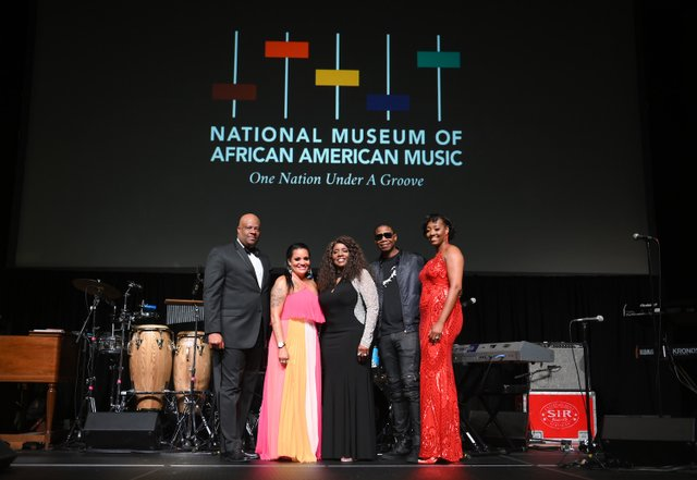 H. Beecher Hicks III, Chrissy Walter, Gloria Gaynor, Doug E. Fresh and Dionne Lucas attend The Celebration of Legends Gala 2019. (Photo by Jason Kempin Getty Images).JPG